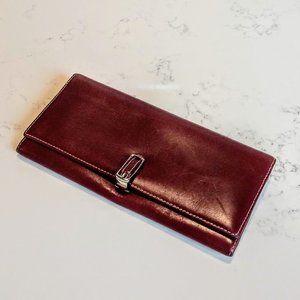 Vintage Coach Burgundy & Tan Leather Hinge Wallet